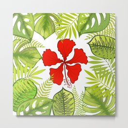 Tropical Paradise. Exotic leaves and flowers. Metal Print