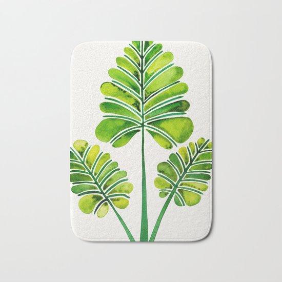 Tropical Palm Leaf Trifecta – Green Palette Bath Mat