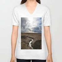 iceland V-neck T-shirts featuring iceland by katie moon