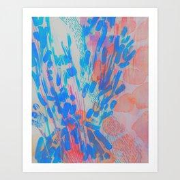 Blue Petal Surge Art Print