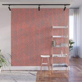 Living Coral Herringbone Gray Wall Mural