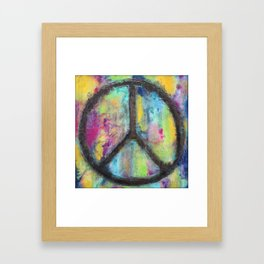 Tie Dye Peace Sign - Colorful Painting - Fluid Art Framed Art Print