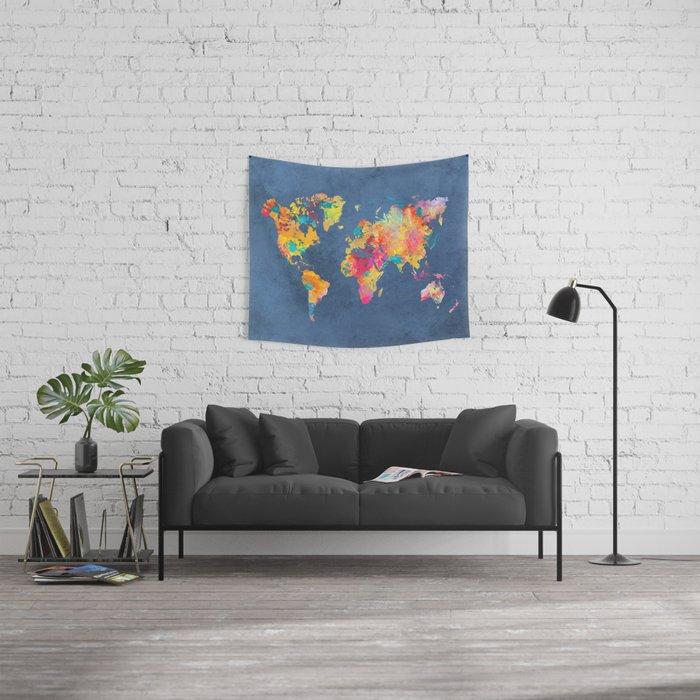 world map blue 2061 #map #worldmap Wall Tapestry