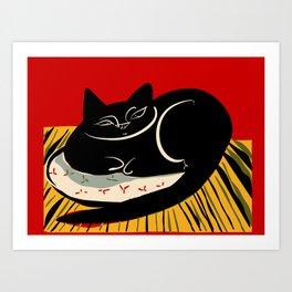 Black cat on a striped cushion Art Print