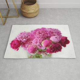 Pink Peonies Romantic Floral Bouquet Rug