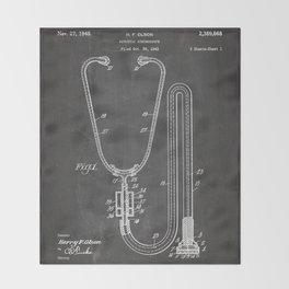 Stethoscope Patent - Doctor Art - Black Chalkboard Throw Blanket