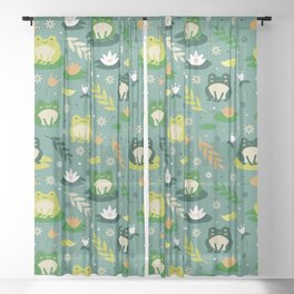 Cute little frogs pond pattern Sheer Curtain