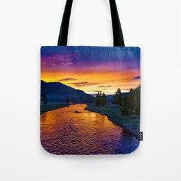 Sundown At Yellowstone Tote Bag