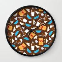 coffe Wall Clocks featuring Cup of coffe? by Olga  Varlamova