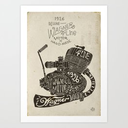Hand lettering engine block Art Print