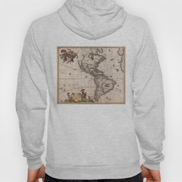 Vintage Map of North and South America (1658) Hoody
