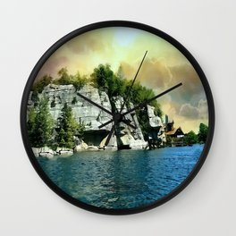 Golden Sky Over the Mountain - Mohonk Wall Clock