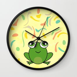 Cute frog looking up Wall Clock