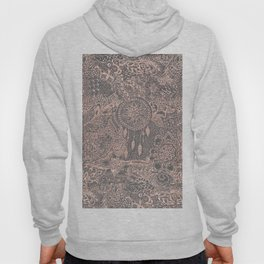 Boho rose gold dreamcatcher floral doodles on grey graphite industrial cement Hoody