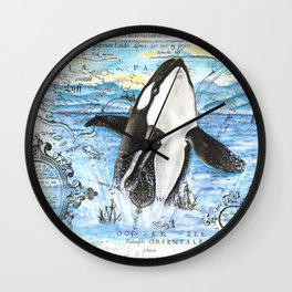 Breaching Orca Ancient Map Wall Clock
