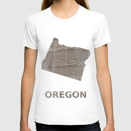 Oregon map outline Gray hand-drawn wash drawing T-shirt