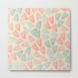 Papier Découpé Modern Abstract Cutout Pattern in Soft Sage Mint Green and Pale Coral on Cream Metal Print