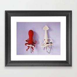 Octopus vs Squid Framed Art Print