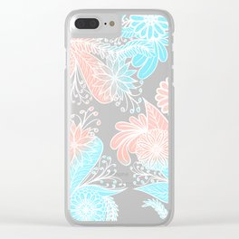 Artsy Summer Coral Aqua Hand Drawn Floral Pattern Clear iPhone Case