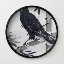 Crow On A Bamboo Branch - Digital Remastered Edition Wall Clock
