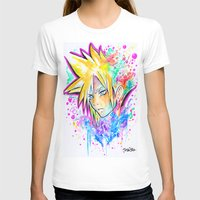 playstation T-shirts featuring Original - CLOUD STRIFE - Watercolor Painting - Playstation by Jonny Clingan