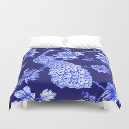 Chinoiserie Peacock Navy Duvet Cover