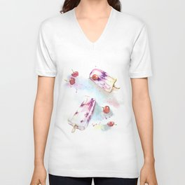 Original watercolor cherry&yogurt icecream Unisex V-Neck