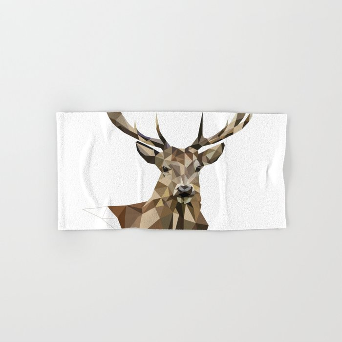 Geometric Deer Woodland Art Forest Animals Brown And Gray Hand Bath Towel