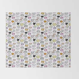 Whimsical Cat Faces Pattern Throw Blanket
