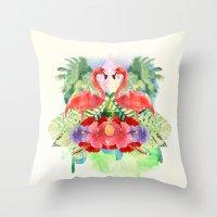 flamingo Throw Pillows featuring Flamingo by Kangarui by Rui Stalph