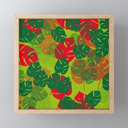 monstera green red Framed Mini Art Print