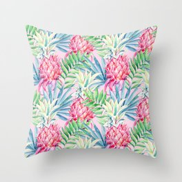 Pineapple & watercolor leaves Throw Pillow