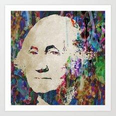 George Washington Art Abstract Paintings Modern Watercolor POP ART GRAFFITI STREET Art Print