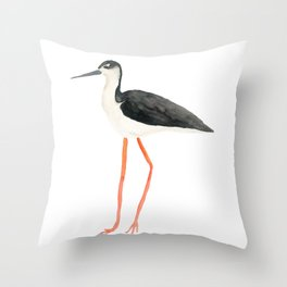Black Necked Stilt Throw Pillow