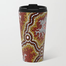 Aboriginal Art Authentic - Mountains Travel Mug