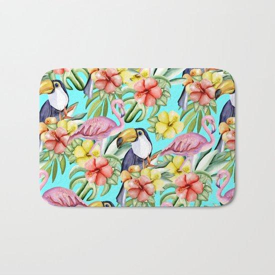 Tropical birds and flowers Bath Mat