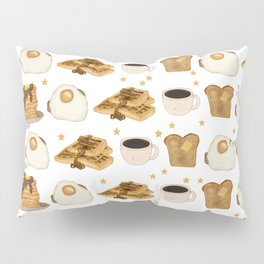 Breakfast Time Pattern on (Egg) White Pillow Sham