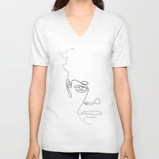 Half-a-Basquiat: One line Unisex V-Neck