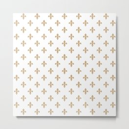 Fleur-de-Lis (Tan & White Pattern) Metal Print