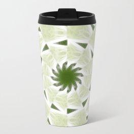 Green White Kaleidoscope Art 2 Travel Mug