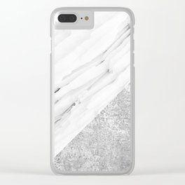 Grey / White Marble Clear iPhone Case