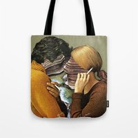 eugenia loli Tote Bags featuring A Creek Between Us by Eugenia Loli