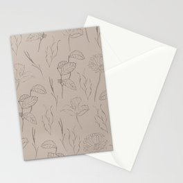 Line Art Leaf Pattern Stationery Cards