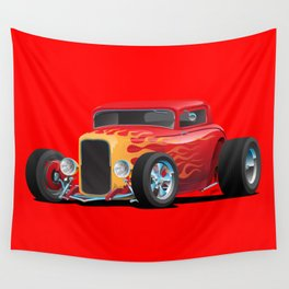 Classic Bold Red Custom Street Rod Car with Yellow amd Orange Hotrod Flames Wall Tapestry