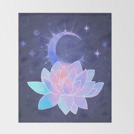 moon lotus flower Throw Blanket