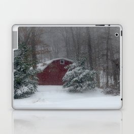 Red Barn in a Snow Storm Laptop & iPad Skin