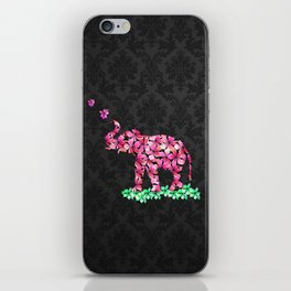 Retro Flower Elephant Pink Sakura Black Damask iPhone Skin