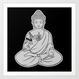Sitting Buddha is blessing on blissful meditation Art Print