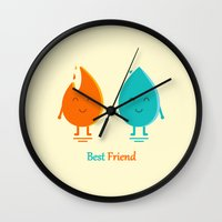 best friend Wall Clocks featuring Best Friend by Adil Siddiqui