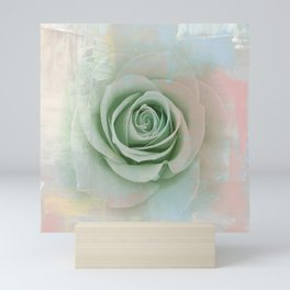 Elegant Painterly Mint Green Rose Abstract Mini Art Print